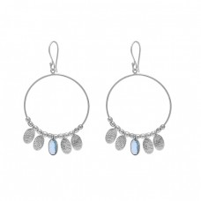 Oval Shape Blue Topaz Gemstone 925 Sterling Silver Gold Plated Earrings