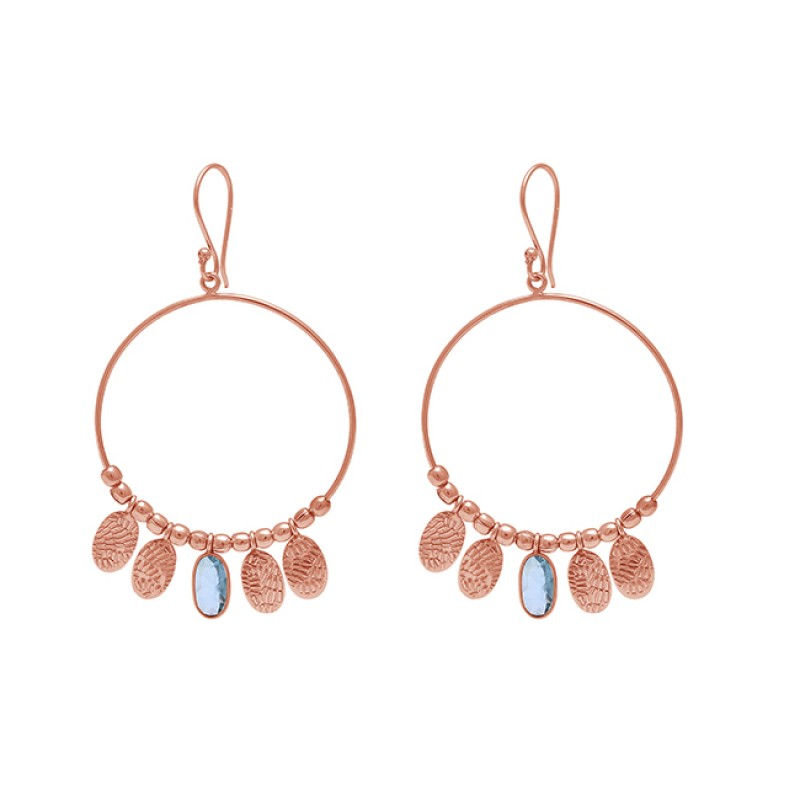 Oval Shape Blue Topaz Gemstone 925 Sterling Silver Gold Plated Earrings