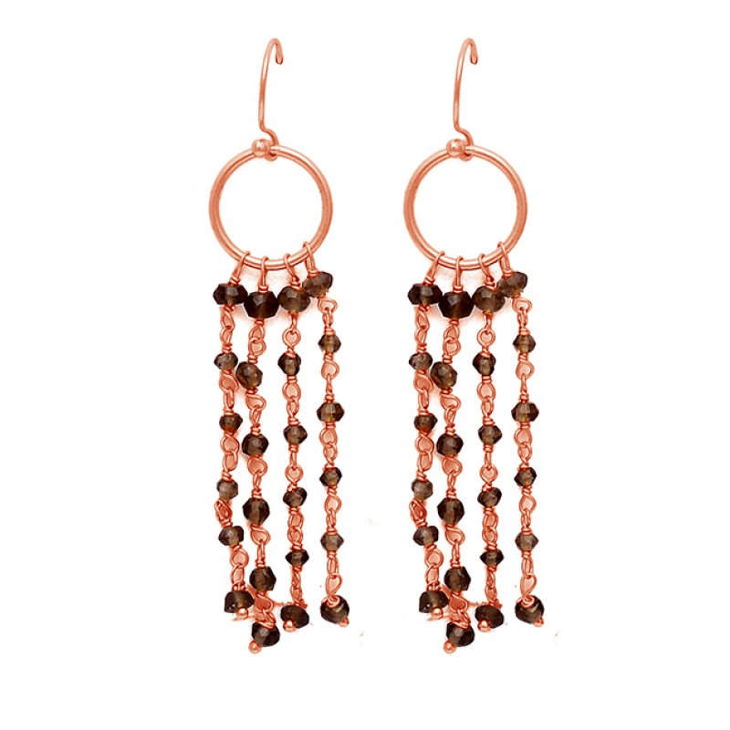 Faceted Roundel Beads Smoky Quartz Gemstone 925 Sterling Silver Chain Dangle Earrings