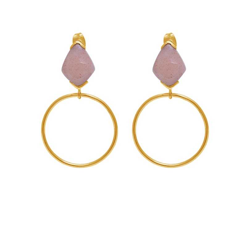 925 Sterling Silver Peach Moonstone Gold Plated Stud Danlge Earrings