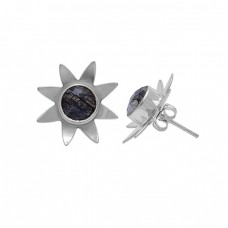 Round Shape Black Rutile Quartz 925 Silver Gold Plated Stud Earrings