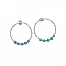 Round Shape Turquoise Gemstone 925 Sterling Silver Gold Plated Earrings
