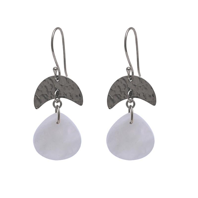 Heart Shape Rainbow Moonstone 925 Sterling Silver Gold Plated Earrings
