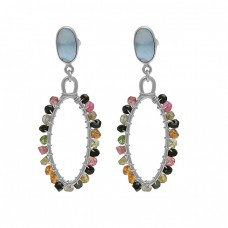 Multi Tourmaline Chalcedony Gemstone 925 Silver Gold Plated Earrings