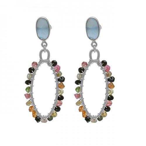 Multi Tourmaline Chalcedony Gemstone 925 Silver Gold Plated Earrings