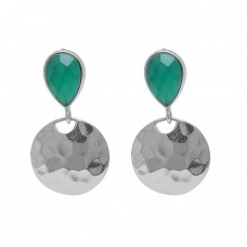 Pear Shape Green Onyx Gemstone 925 Sterling Silver Gold Plated Earrings