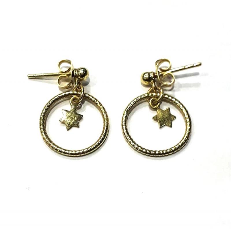 925 Sterling Silver Star Shape Plain Gold Plated Stud Dangle Earrings