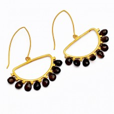 Pear Drops Shape Black Onyx Gemstone Handmade 925 Sterling Silver Gold Plated Earrings