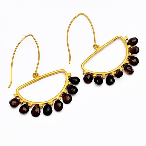 Pear Drops Shape Black Onyx Gemstone Handmade 925 Sterling Silver Gold Plated Earrings