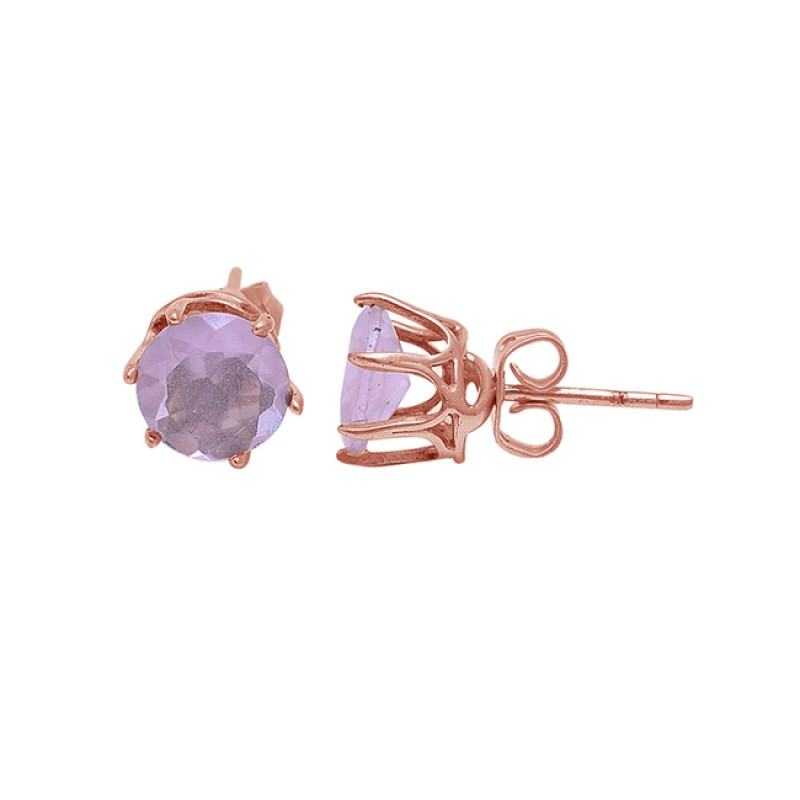 Round Shape Rose Chalcedony Gemstone 925 Sterling Silver Gold Stud Earrings