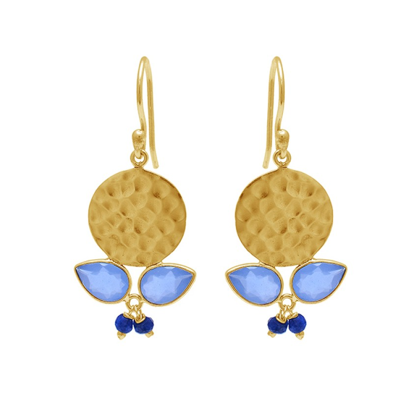 Sapphire Blue Chalcedony Gemstone 925 Sterling Silver Gold Plated Earrings