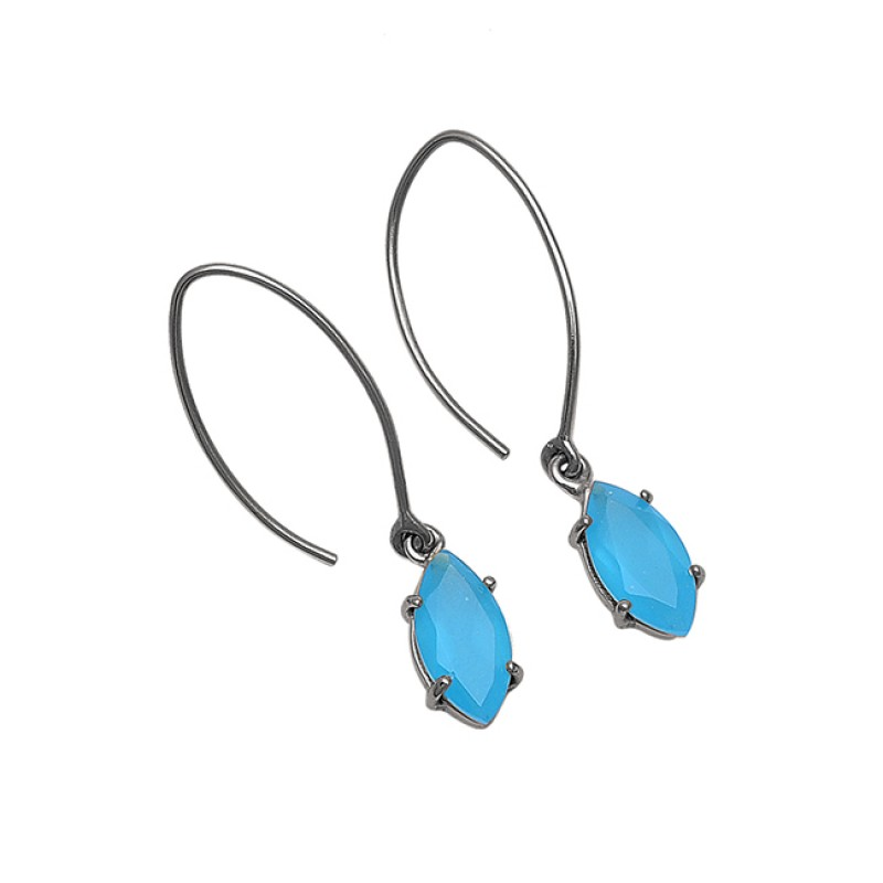 Marquise Shape Aqua Chalcedony Gemstone 925 Sterling Silver Earrings