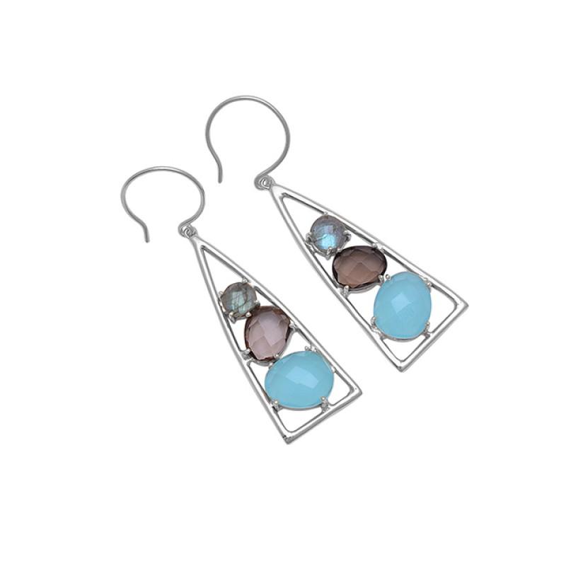 Labradorite Smoky Quartz Chalcedony Gemstone 925 Silver Dangle Earrings