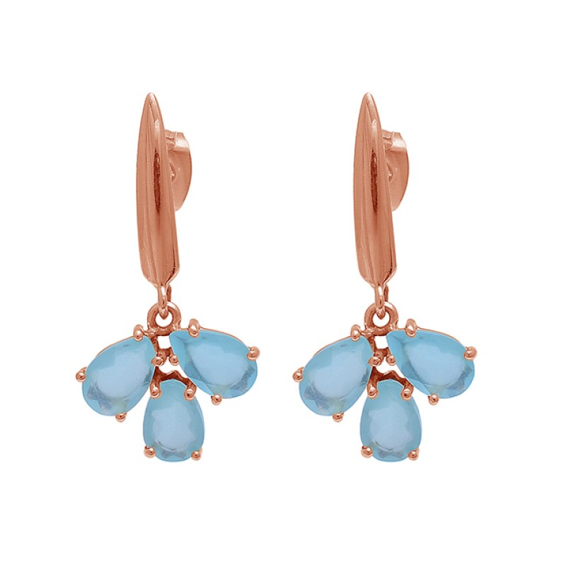 Pear Shape Aqua Chalcedony Gemstone 925 Sterling Silver Gold Plated Earrings