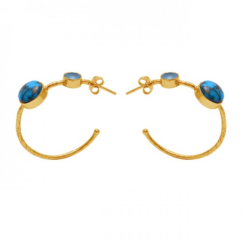 Round Shape Turquoise Chalcedony Gemstone 925 Silver Gold Plated Earrings