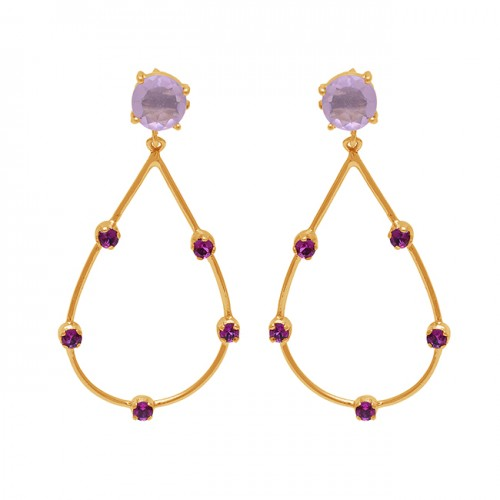 Round Shape Chalcedony Quartz Gemstone 925 Silver Gold Plated Earrings