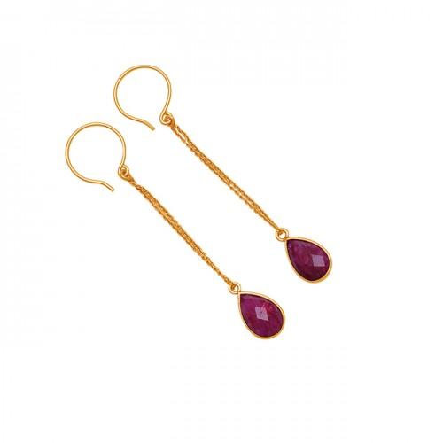 Pear Drops Shape Ruby Gemstone 925 Sterling Silver Gold Plated Dangle Earrings