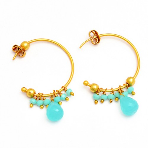 925 Sterling Silver Chalcedony Turquoise Gemstone Gold Plated Hoop Earrings