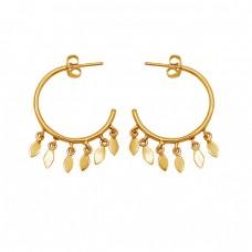 925 Sterling Silver Handmade Dangle Gold Plated Hoop Earrings