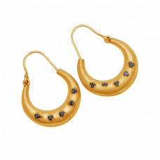 925 Sterling Silver Plain Designer Gold Plated Hoop Earrings Jewelry