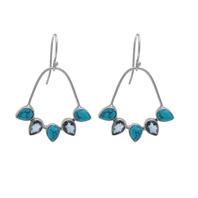 Green Amethyst Turquoise Gemstone 925 Sterling Silver Gold Plated Earrings