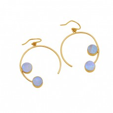 Round Shape Rainbow Moonstone 925 Sterling Silver Gold Plated Earrings