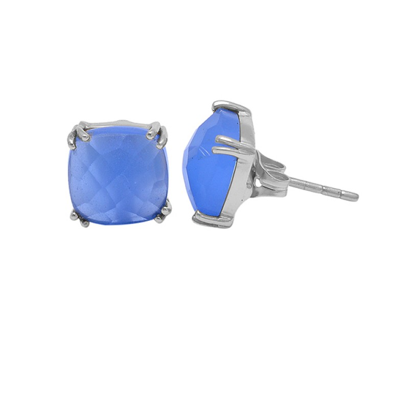 Square Shape Blue Chalcedony Gemstone 925 Sterling Silver Gold Plated Earrings