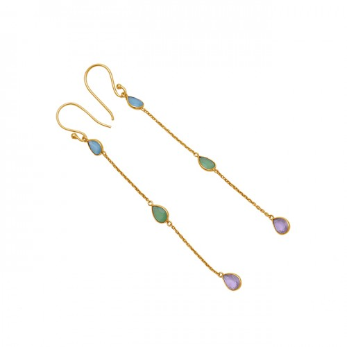 Pear Shape Chalcedony Gemstone 925 Sterling Silver Gold Plated Chain Earrings