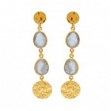 Oval Shape Prehnite Chalcedony Gemstone 925 Sterling Silver Earrings
