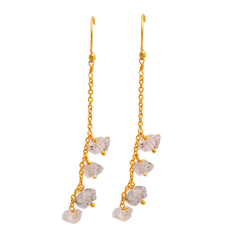 Uncut Uneven Shape Herkimer Diamond Gemstone Gold Plated Hanging Chain Dangle Earrings