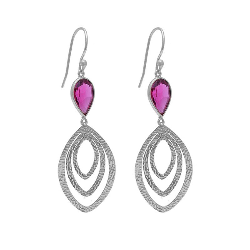 925 Sterling Silver Pear Shape Pink Quartz Gemstone Gold Plated Earrings