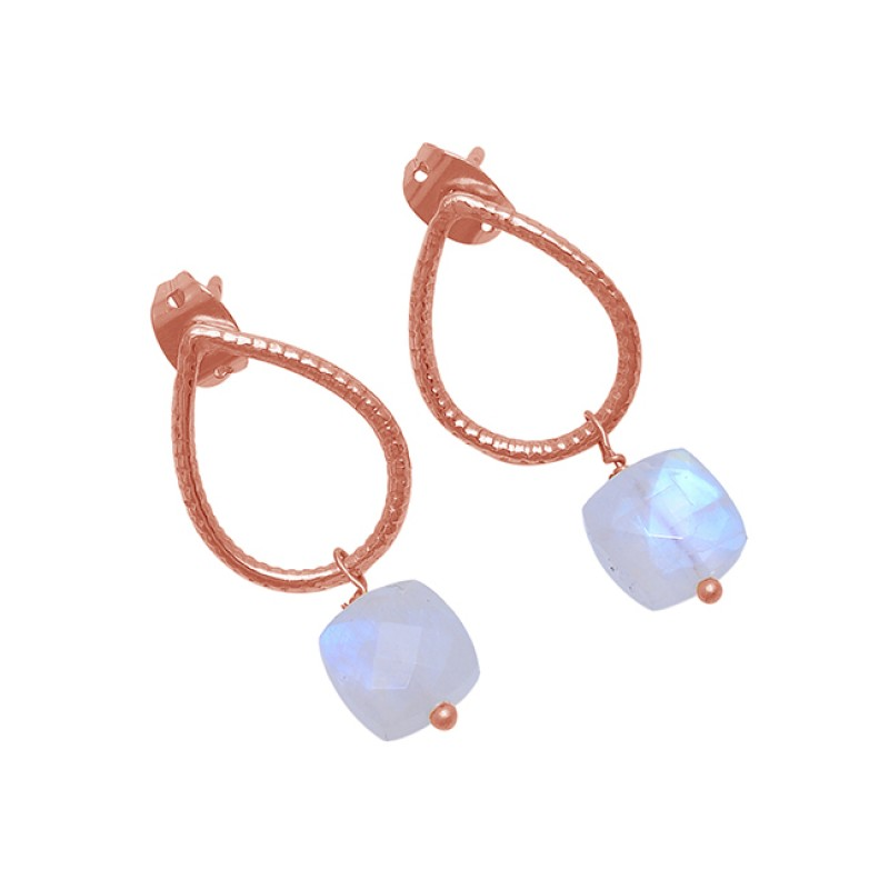 Square Shape Rainbow Moonstone 925 Sterling Silver Gold Plated Earrings