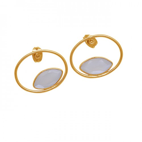 Marquise Shape White Moonstone 925 Sterling Silver Gold Plated Earrings