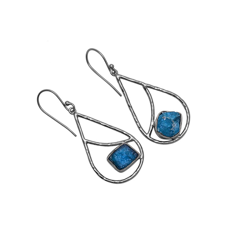 Apatite Rough Gemstone 925 Sterling Silver Gold Plated Dangle Earrings