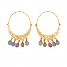 Pear Shape Multi Color Gemstone 925 Sterling Silver Gold Plated Earrings