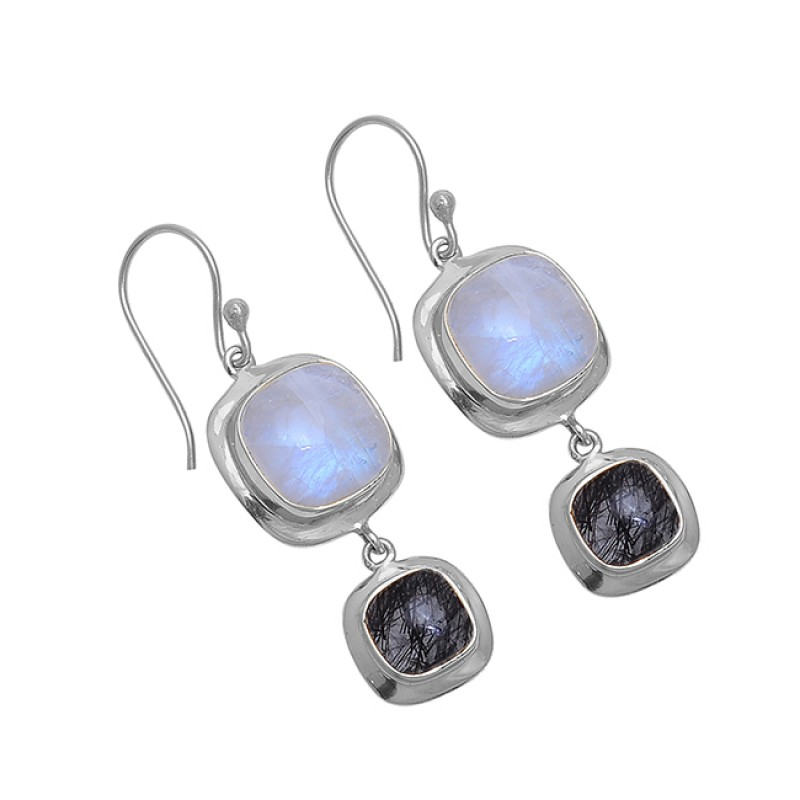 Square Shape Moonstone Black Rutile Quartz Gemstone 925 Silver Earrings