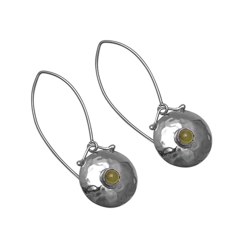 Round Shape Peridot Gemstone 925 Sterling Silver Gold Plated Dangle Earrings