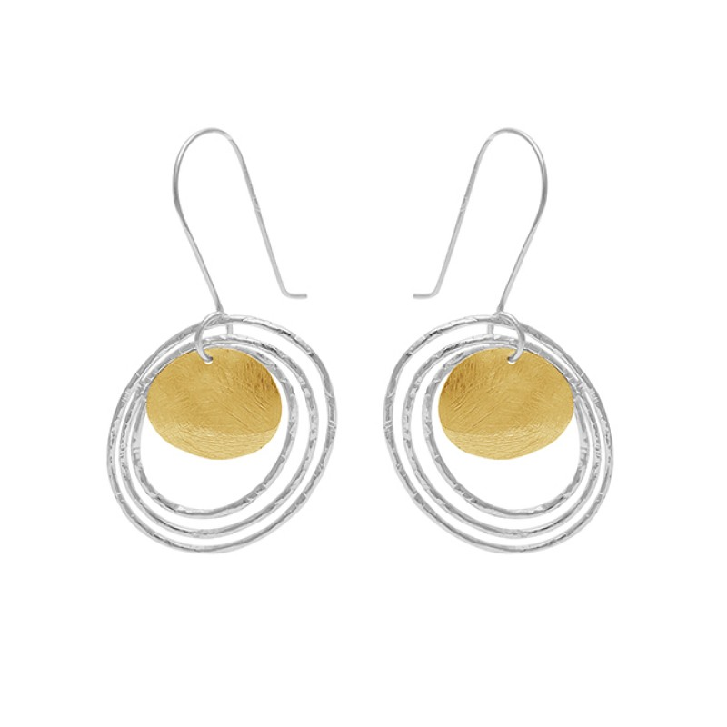 925 Sterling Silver Plain Handmade Designer Gold Plated Dangle Earrings