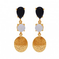 Black Onyx Rainbow Moonstone 925 Sterling Silver Gold Plated Earrings