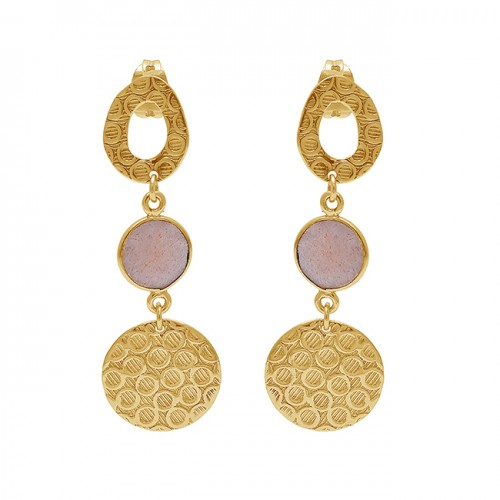 Round Shape Peach Moonstone 925 Sterling Silver Gold Plated Stud Earrings