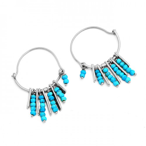 Blue Turquoise Roundel Beads Gemstone 925 Sterling Silver Gold Plated Hoop Earrings