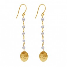 Pearl Beads Shape Gemstone 925 Sterling Silver Gold Plated Dangle Earrings