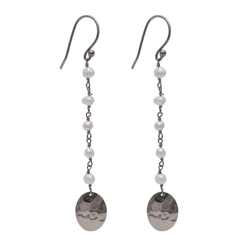 Pearl Beads Shape Gemstone 925 Sterling Silver Gold Plated Dangle Earrings