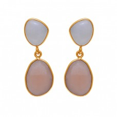 White Peach Color Moonstone 925 Sterling Silver Gold Plated Dangle Earrings
