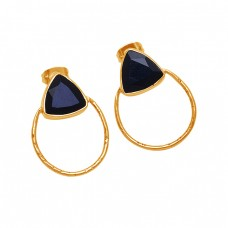 Triangle Shape Black Onyx Gemstone 925 Sterling Silver Gold Plated Earrings