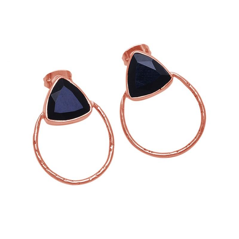 Triangle Shape Black Onyx Gemstone 925 Sterling Silver Gold Plated Earrings