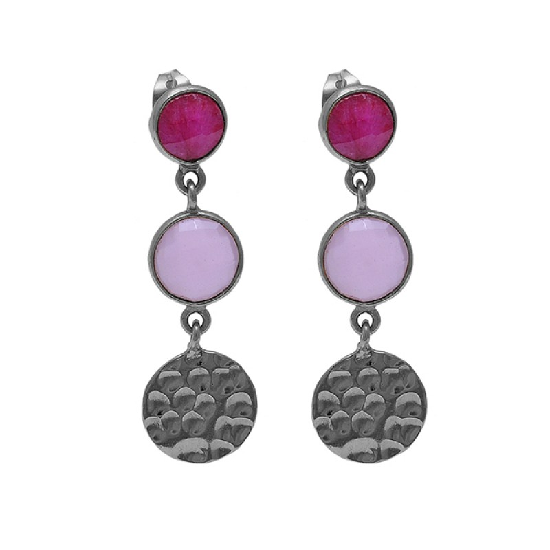 Ruby Rose Chalcedony Gemstone 925 Sterling Silver Gold Plated Earrings
