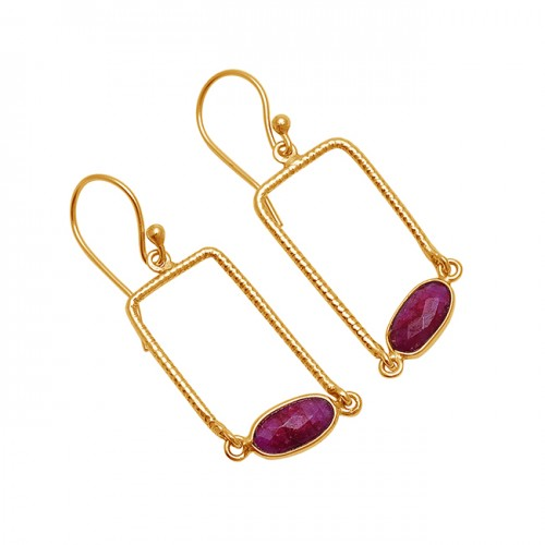 Oval Shape Ruby Gemstone 925 Sterling Silver Gold Plated Dangle Earrings