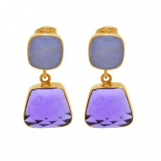 Amethyst Blue Chalcedony Gemstone 925 Silver Gold Plated Stud Dangle Earrings