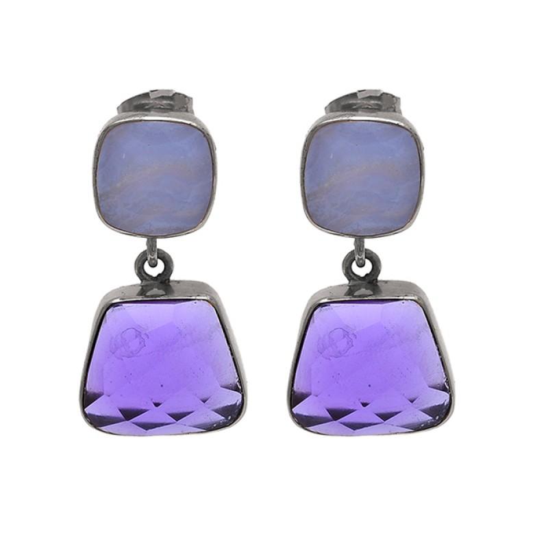 Amethyst Blue Chalcedony Gemstone 925 Silver Gold Plated Stud Dangle Earrings